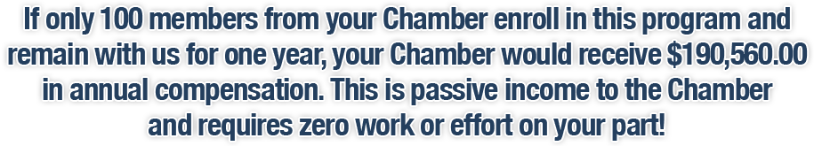 If only 100 members from your Chamber enroll in this program and remain with us for one year, your Chamber would receive $190,560.00 in annual compensation. This is passive income to the Chamber and requires zero work or effort on your part!